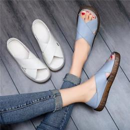 $enCountryForm.capitalKeyWord Australia - Tangnest Fashion Leather Flat Sandals Women Summer Platform Slippers Soft Slip On Creepers Comfortable Casual Shoes Xwz5647 Y19070303