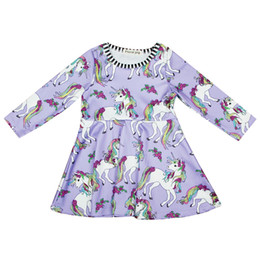 Wholesale purple colour dress online – ideas Baby Unicorn Girls Dresses Kids Casual Clothes Girls Striped Collar Coloured Tail Unicorn Cartoon Printed Toddler