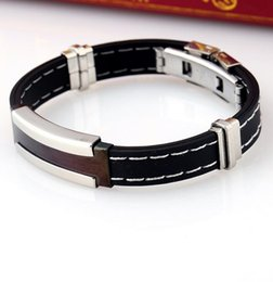 Новая двойная клипса, белая линия, черные украшения, браслет из нержавеющей стали.