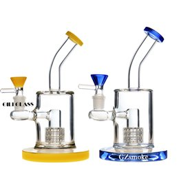 Chinese  thick heavy Oil Rig Glass Bong water pipe honeycomb Perc bent neck Pipes Bubbler dab rigs small Percolator 14mm bongs bowl free shipping manufacturers