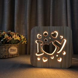 $enCountryForm.capitalKeyWord Australia - I love U Design Wooden Lamp for Valentine's Day Gift USB LED Table Light Switch Control Wood Carving Night Light
