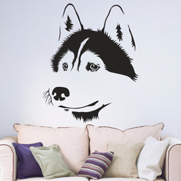 $enCountryForm.capitalKeyWord UK - Husky Dog Siberian Living Room Window Decal Sticker Hallway Portrait Home Decal Removable Vinyl Wall Art Decal Sticker