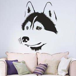Hallway Wall Stickers UK - Husky Dog Siberian Living Room Window Decal Sticker Hallway Portrait Home Decal Removable Vinyl Wall Art Decal Sticker