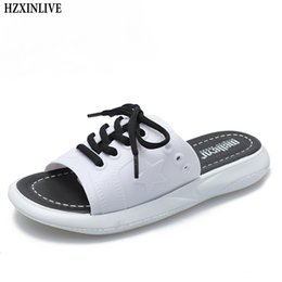 72d89fe455 ERNESTNM 2019 Summer Women Platform Slippers Lace-up Genuine Leather Shoes  Slip on Open Toe White Wedge Slippers Zapatos Mujer