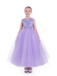 $enCountryForm.capitalKeyWord UK - Cute Jewel Ball Gown Lace Applique Beaded Ankle Length Princess Dresses Kids Children Clothes Girls Birthday Party Wedding Dresses E32