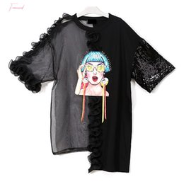 plus size sequin t shirt Australia - Sexy Sequin T Shirt Women Polyester Patchwork Perspective Mesh Ruffle Plus Size Pullover Tops Irregular 2019 New Summer Kzh305