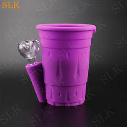 pipe cup NZ - Stylish high-end silicone drink cup design smoking pipe 5inch height tobacco bottle Cheap Bong hookah shisha pipe with 14mm glass bowl