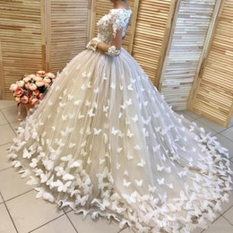 bridal dresses butterflies UK - Butterfly Appliques Ball Gown Wedding Dresses With Illusion Long Sleeves Wedding Gowns Lace Handmade Flowers Bridal Dress Vestidos