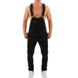 4b4e17d4457 2019 New Black Blue Men Ripped Jeans Jumpsuits Men Hole Distressed Denim  Bib Overalls Male Plus size 3XL Suspender Pants  345724