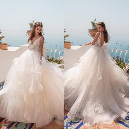 Simple Maternity Wedding Dresses Canada - 2019 Tiered Skirt Summer Beach Wedding Dresses A Line V Neck Sexy Open Back Lace Ball Gown Bridal Gowns Maternity Wedding Dress BC0512