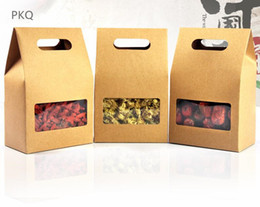 Clear window gift bags online shopping - 50pcs Brown Kraft Paper Party Wedding Gift Bags with handle Stand Up Food Clear PVC window boxes Food Tea packaging bag