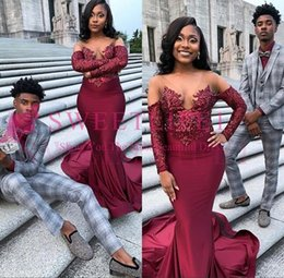 $enCountryForm.capitalKeyWord Australia - Sexy Sheer Black Girls Mermaid Burgundy Prom Dresses Long 2019 Beaded Sequin African Satin Long Formal Evening Party Gowns