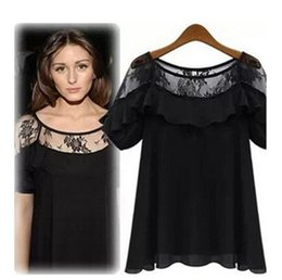 womens short sleeve lace tops 2019 - Womens Casual T Shirts 2019 Summer New Fashion Lace Short Sleeve Sexy Solid Color Top Loose Perspective Tees Womens Clot