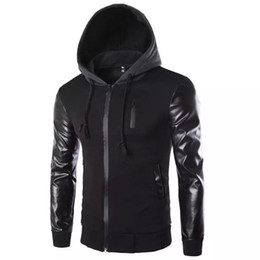 $enCountryForm.capitalKeyWord Australia - Winter Autumn Men 's Hooded Jacket Coat Fashion Stitching Leather Sleeve Male Zipper Casual Overcoat Black Dark Gray M-2XL