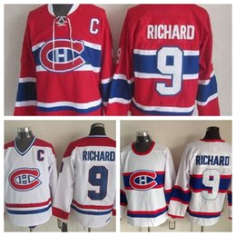 5230487cd55 Top Quality 1946 Maurice Richard Montreal Canadiens Hockey Jerseys CCM  Vintage White Mens  9 Maurice Richard Jersey Red Stitched C Patch