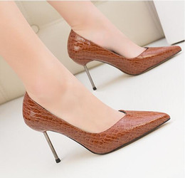 brown high american shoes Australia - 2019 New European and American style retro fashion high heel women's shoes with shallow mouth pointed stone pattern single shoes