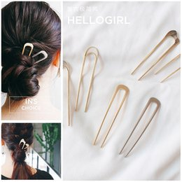 Wholesale Japan ins wind metal plate hairpin minimalist temperament simple u shaped hairpin headpiece ball head scorpion pin