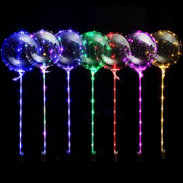 Wholesale LED Flashing Balloons Night Lighting Bobo Ball Multicolor Decoration Balloon Decorative Bright Balloons With Stick Outdoor Gadgets GGA1401