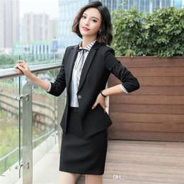 f298d443785e Business formal women black skirt suit spring autumn fashion elegant blazer  and skirt office Interview plus size Work wear 6001