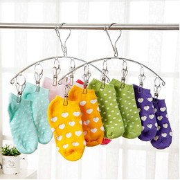 Storage For Towels Australia - Stainless Steel Laundry Drying Rack Clothes Hanger with Clips For Drying Socks Drying Towels Diapers Bras Baby Clothes Underwear Sock #5