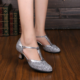 Wholesale 34-41 Women Latin dancing shoes chunky heel dancing shoe soft bottom cha-cha dance shoe thick heel wedges ballroom dancings shoes zyd1