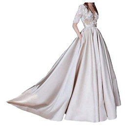 $enCountryForm.capitalKeyWord UK - Women Long Lace Elegant Bridal Gowns Champagne Stain Half Sleeves Lace Appliques Sheer Back Sexy Beach Wedding Dresses for Bride Custom Made