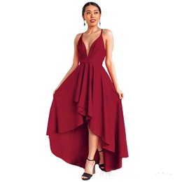 0c41c667ccf 2019 New Style Spaghetti Hi-Lo Cocktail Dress Deep V Neck Backless Evening  Dress Ruched Pear Plus Sizes Prom Dress Cheap Custom Made