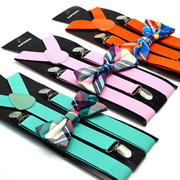 Free Gifts Australia - Adult Suspenders Elastic Y-back + Bow Tie Set 11 colors for men women Clip-on accessories for Christmas gift Free shipping