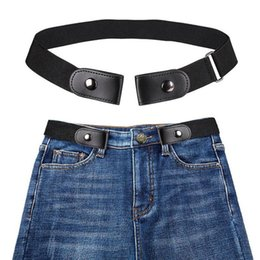 Dress Elastic Belt NZ - 1PC Unisex New Black Buckle-Free Elastic Belt For Jeans Pants Dress Stretch Waist Belt invisible Fashion Leather Waist