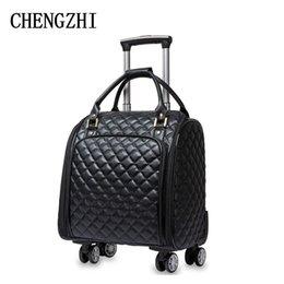 """Venta al por mayor de Chengzhi 16"""" de cuero de la PU de alta calidad bolsos Maleta Ruedas Carry de pulgada mujeres encendido bolsas de viaje"""