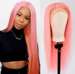 pink lace wigs Australia - Pink Straight Lace Front Wigs For Women Brazilian 150% Density 360 Pink Lace Frontal Wig Straight Lace Front Human Hair Wigs