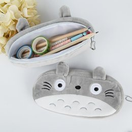 totoro cosmetic bag NZ - Eco-Friendly Office 15 pcs lot Cartoon Totoro Style Plush Zipper Pencil Bags Cosmetic Bag Pouch Writing Supplies Office & School Supplies