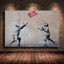 $enCountryForm.capitalKeyWord Australia - (Unframed Framed) Mural By Banksy,1 Pieces Canvas Prints Wall Art Oil Painting Home Decor 24X36.