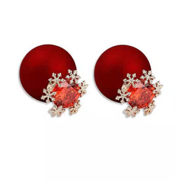 needles manufacturers UK - Silver ear needles Christmas red snowflake earrings Korean version of copper set zircon earrings jewelry manufacturers spot