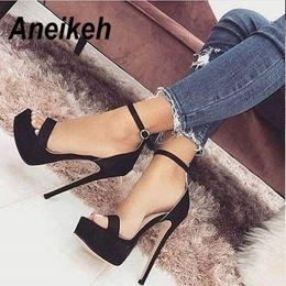 $enCountryForm.capitalKeyWord Australia - Aneikeh 2019 New 14.5cm Platform High Heels Sandals Summer Sexy Ankle Strap Open Toe Gladiator Party Dress Women Shoes Size 4-9 Y190704