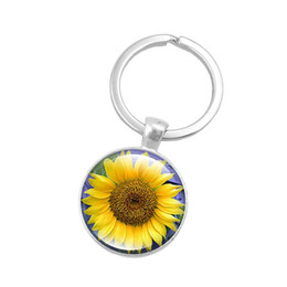 flower sun glasses UK - 2019 new you are my sun alloy keychain personalized glass pendant crystal keychain sunflower photo keychain flower key chain household it