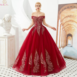 a9df3608bde98 Wine Red 2019 New Quinceanera Dresses Boat Neck Off Shoulder Floor Length  Ball Gown Formal Party Ceremony Long Graduation Gowns