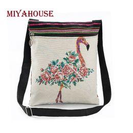 $enCountryForm.capitalKeyWord NZ - Cheap Fashion Miyahouse Vintage Women Mini Shoulder Bags Cute Flamingo Printed Flap Handbags For Female Canvas Small Messenger Bag
