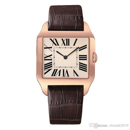 Discount females watches - 2019 Rose Gold New men watch Gentalmen luxury watches women fashion wristwatch leather brown square dial Female Relogio