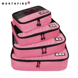 """$enCountryForm.capitalKeyWord Australia - WORTHFIND Travel Bag 4 Set Packing Cubes Luggage Packing Organizers with Shoe Bag Fit 23"""" Carry on"""