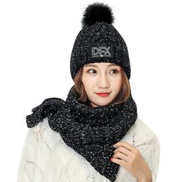 Solid Color Scarves Wholesale Australia - Adult Women Men cap scarf Winter Knit Hat scarf Solid Color knitted Hairball Warm Cap Simple Trend Beanie