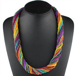 $enCountryForm.capitalKeyWord Australia - Claire Jin Handmade Small Beads Strand Ethnic Necklace Twisted Necklaces Bohemian Jewelry Summer Colorful Women Fashion Choker T190626