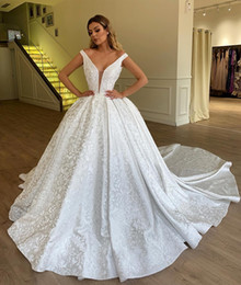 Simple white engagement dreSS online shopping - Sexy Illusion Off the Shoulder V Neck Wedding Dresses Royal Princess Ball Gown Sleeveless Engagement Dress Bridal Gowns Plus Size