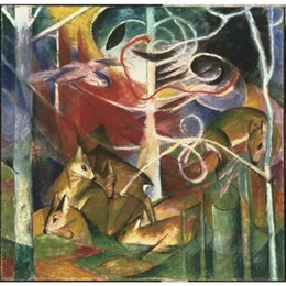 $enCountryForm.capitalKeyWord Australia - Franz Marc paintings Deer in the Forest I canvas modern art abstract hand-painted home decor