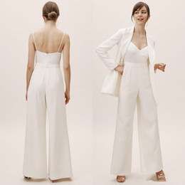 backless jumpsuit plus size NZ - 2020 New Spaghetti Straps Jumpsuit Wedding Dresses Satin Sleeveless Floor Length Beach Wedding Gowns With Jacket Plus Size Pants Suits