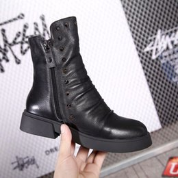 Women Genuine Leather Motorcycle Boots NZ - 2019 Women Martin Ankle Boots Chunky Heel Platform Motorcycle Genuine Leather Brand Designer Rivets Boots Zapatos Botas Size 34-40