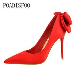 $enCountryForm.capitalKeyWord NZ - Designer Dress Shoes POADISFOO sweet high heels fine with high-heeled slimming silk satin bow .DS-1717-1