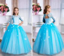 $enCountryForm.capitalKeyWord NZ - Flower Girl Dresses For Wedding Lace Up Sequined Ruffle Tiered Skirts Toddlers Kids Girls Pageant Gowns Prom Party Dress