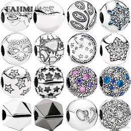 Globe Glasses Australia - FAHMI 100% 925 Sterling Silver Charm Black Rock Star SIGNATURE Pavé Star GLOBE Abstract Stars Cubic Zirconia Bead Cosmic