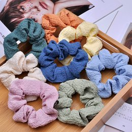 bohemian hair accessories for women Canada - Fashion Solid Elegant Hair Scrunchie Elastic Band Girls Ponytail Holder Hair Rope Headwear Hair Accessories For Women